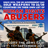 UK Government Sold Weapons to 22/30 Countries on Their Own Watchlist. Occupy the Arms Fair [meme]